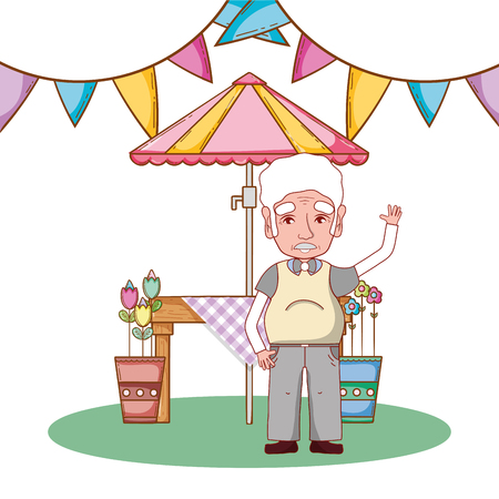 cute grandfather in country party cartoon vector illustration graphic design Ilustracja