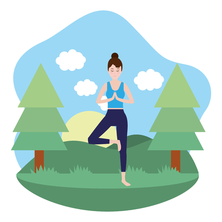 Woman on yoga position at nature vector illustration graphic design
