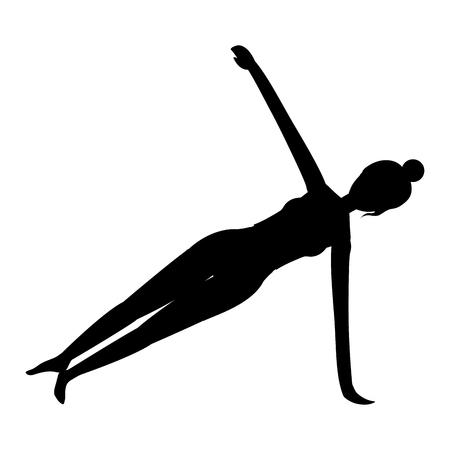 Frau auf Yoga-Position schwarze Silhouette-Vektor-Illustration-Grafik-Design Vektorgrafik