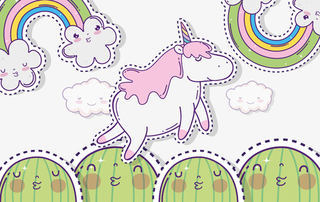 kawaii cactus with unicorn and clouds with rainbow vector illustration Illustration