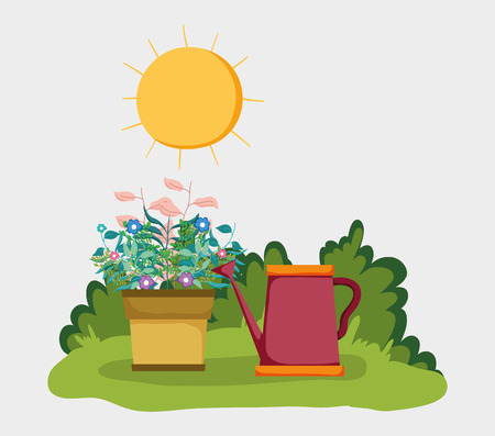 bushes and branches plants leaves with watering can vector illustration