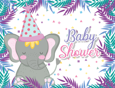 hipoppotamus wearing party hat to celebrate baby shower vector illustration