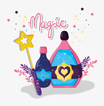 magic wand with potions mysterios effect vector illustration