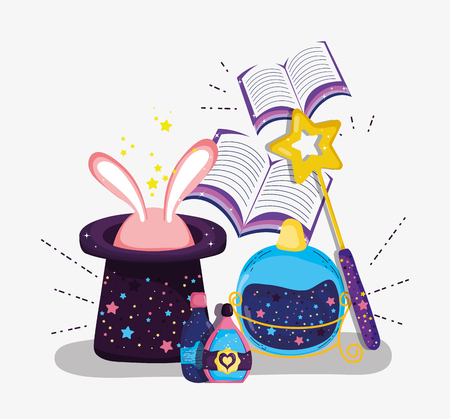 hat with rabbit and magic wand with books vector illustration Vector Illustration