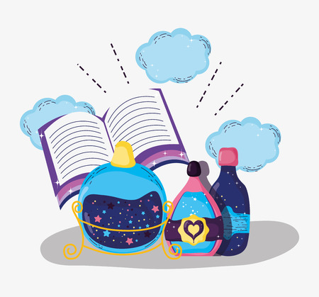 magic book with mystery potions effect vector illustration Vector Illustration