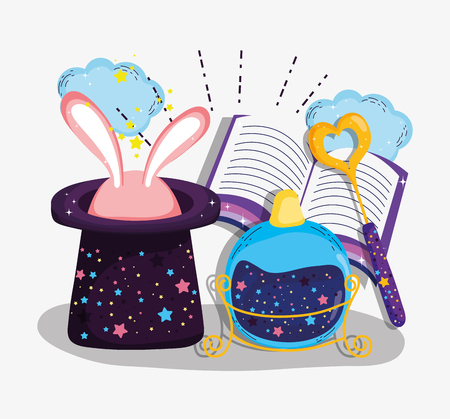 potion with magic book and hat with rabbit vector illustration Illustration