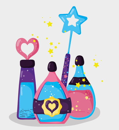 magic wand with mystery potion effect vector illustration