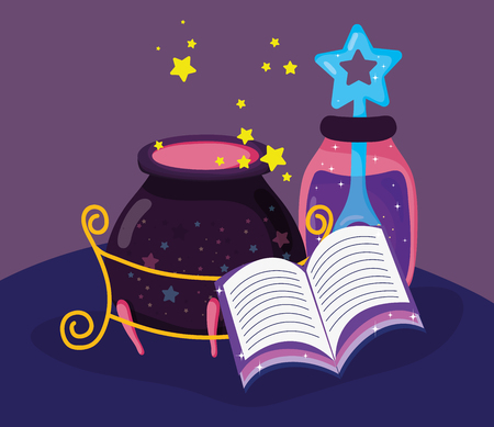 magic book with mystery potion and cauldron vector illustration