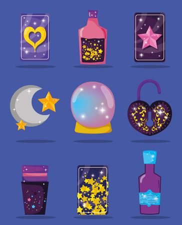 set magic cards with potions and crystal ball with padlock vector illustration