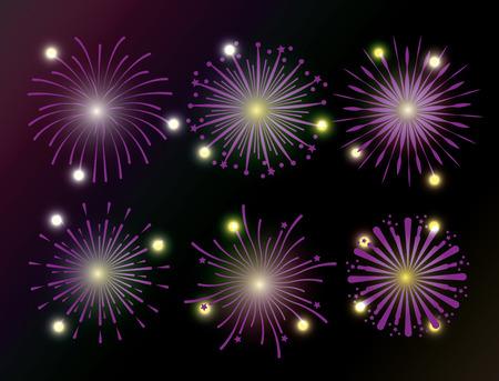 Stellen Sie Feuerwerksdekoration ein, um Feiertagsvektorillustration zu feiern