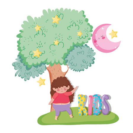 girl enjoying with tree and moon with stras vector illustration