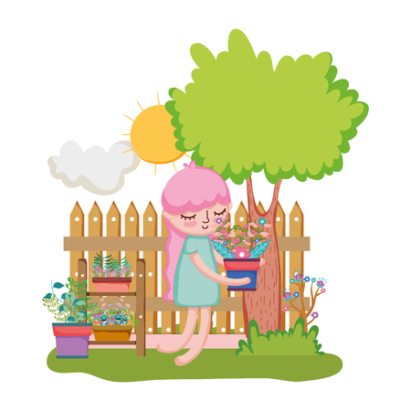 little girl lifting houseplant with fence and tree vector illustration design