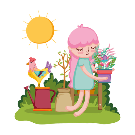 girl lifting houseplant with rooster in the garden vector illustration