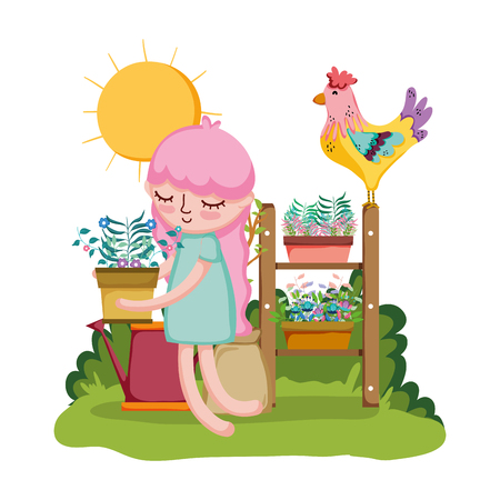 girl lifting houseplant with rooster in the garden vector illustration Illustration