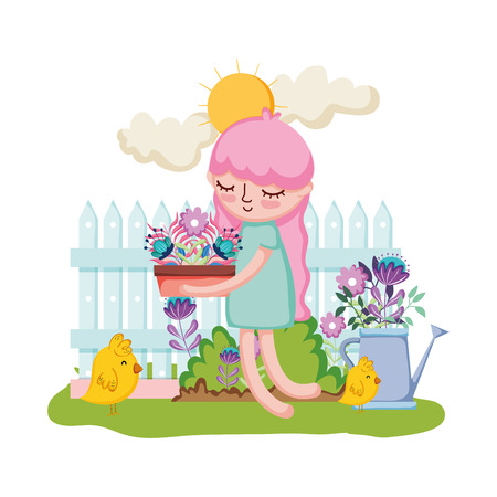 girl lifting houseplant with fence and sprinkler vector illustration design