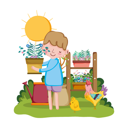 boy lifting houseplant with shelf and rooster vector illustration design Illustration