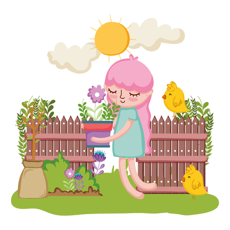 little girl lifting houseplant with fence and chick vector illustration design Illustration