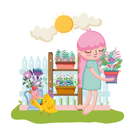 little girl lifting houseplant with shelf and chick vector illustration design