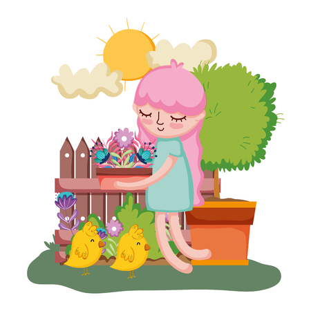 little girl lifting houseplant with tree and chick vector illustration design