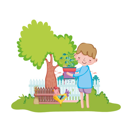 little boy lifting houseplant with fence and rooster vector illustration