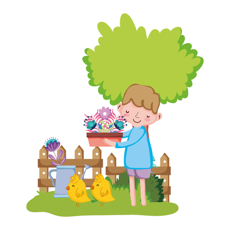 little boy lifting houseplant with fence and chick vector illustration design Illustration