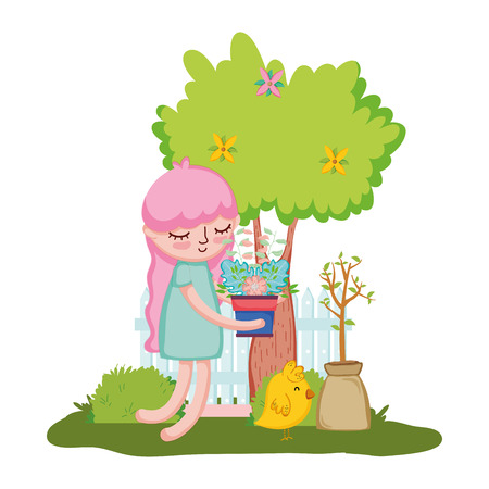 little girl lifting houseplant with fence and chick vector illustration design 向量圖像