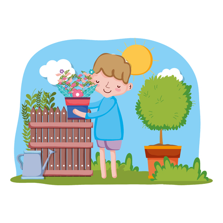little boy lifting houseplant with fence and tree vector illustration design Illustration