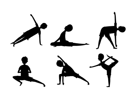 Establecer hombre practicar yoga ejercicio relajación ilustración vectorial
