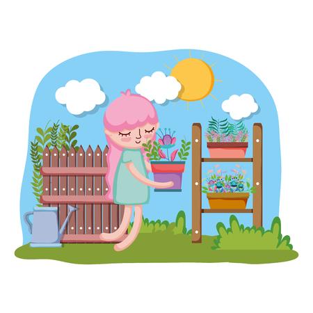 girl lifting houseplant with shelf in the garden vector illustration design