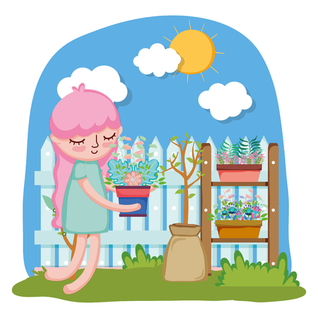 little girl lifting houseplant with fence and shelf vector illustration design