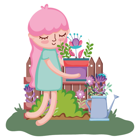 girl lifting houseplant with sprinkler and fence vector illustration design