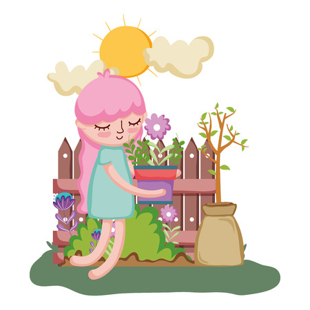 girl lifting houseplant with fence in the garden vector illustration design Illustration