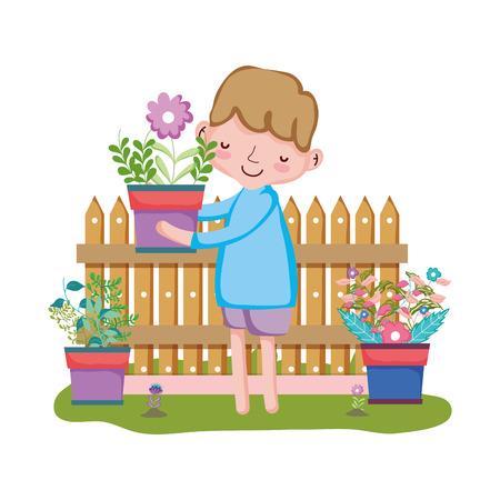 Junge, der Zimmerpflanze mit Zaun im Gartenvektorillustrationsdesign anhebt