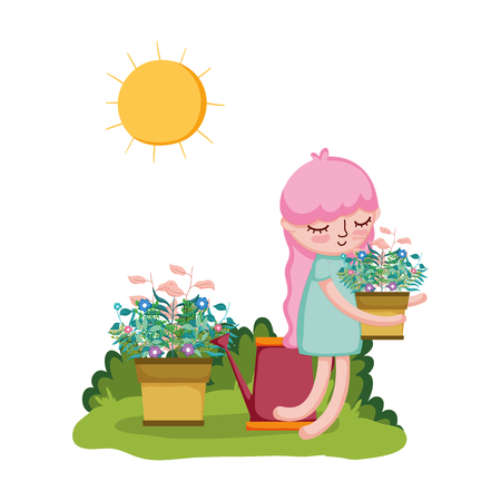 girl lifting houseplant with sprinkler in the garden vector illustration