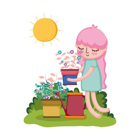 girl lifting houseplant with sprinkler in the garden vector illustration