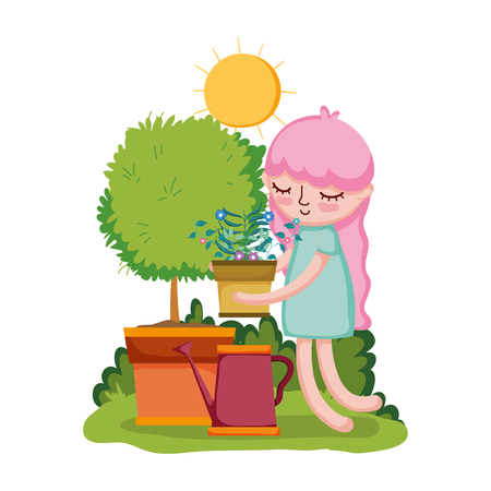 girl lifting houseplant with sprinkler and tree vector illustration design