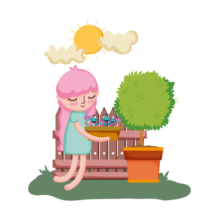 little girl lifting houseplant with tree and fence vector illustration design