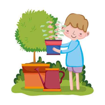 boy lifting houseplant with sprinkler and tree vector illustration design