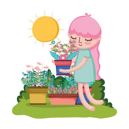 little girl lifting houseplant in the garden vector illustration design