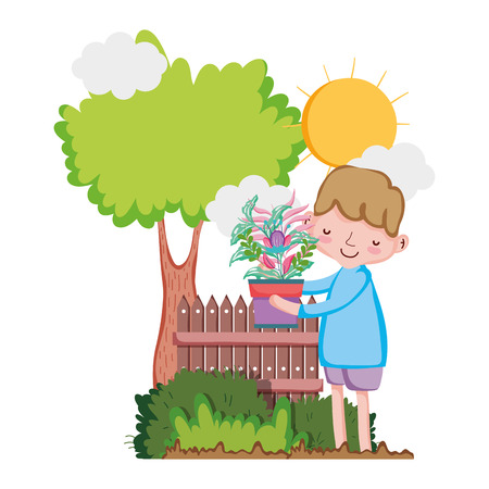 little boy lifting houseplant with tree and fence vector illustration design