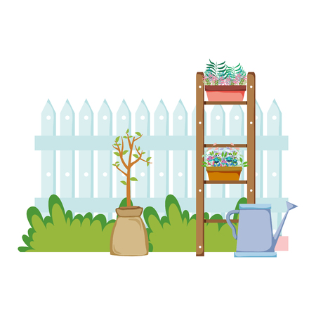 chelf garden and fence with houseplants vector illustration design Illustration