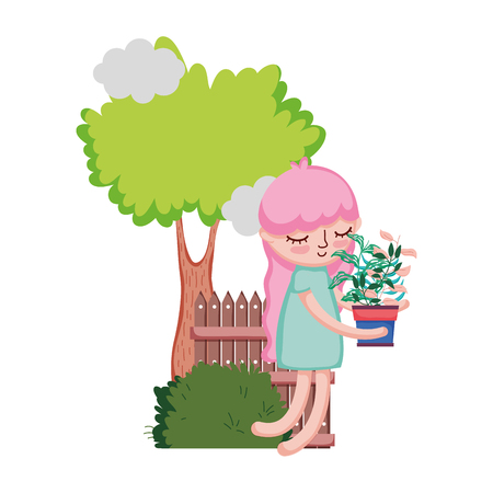 girl lifting houseplant with fence and tree vector illustration design