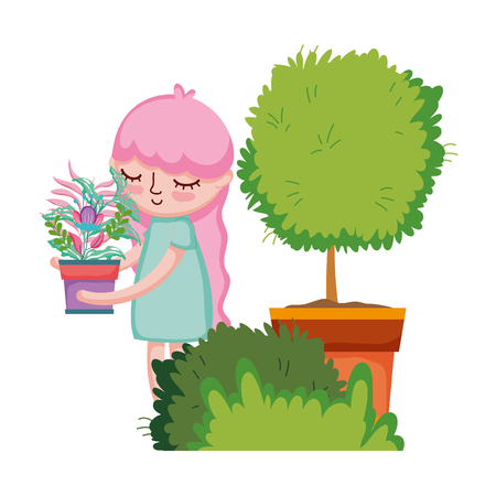 little girl lifting houseplant with tree and bush vector illustration design