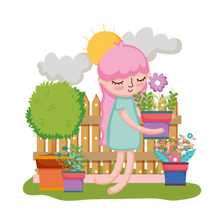 girl lifting houseplant with fence in the garden vector illustration design