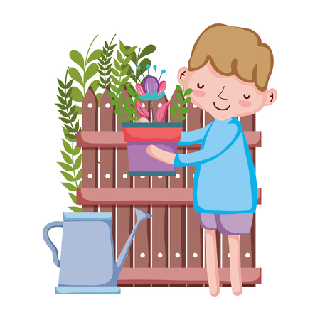 boy lifting houseplant with sprinkler and fence vector illustration design