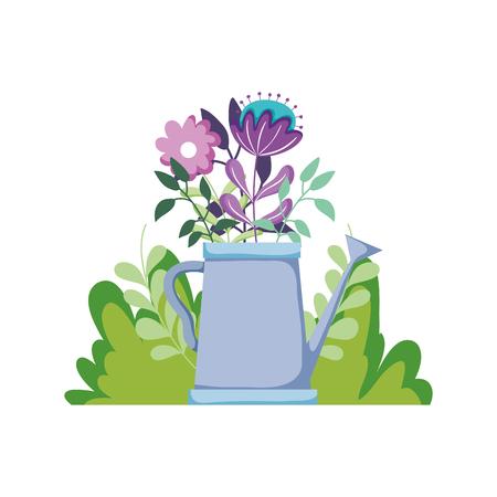 cute sprinkler of garden with floral decoration vector illustration design