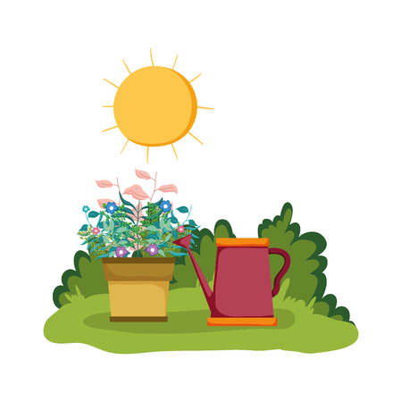sprinkler of garden with houseplant in the park vector illustration design 向量圖像