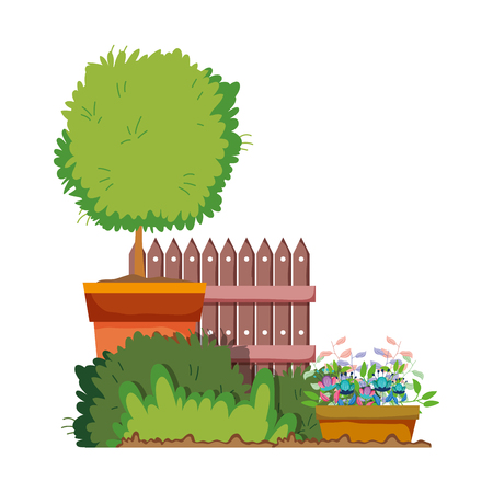 floral houseplant with fence in the garden vector illustration design