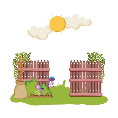 wooden fence with garden flowers scene vector illustration design