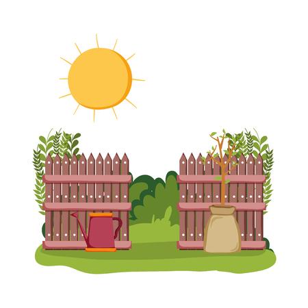 sprinkler of garden with fence in the field scene vector illustration Illustration